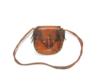Handmade Tooled Leather Bag // Vintage Brown Leather Bag // Round 1960's Purse