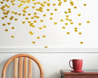 Gold vinyl heart wall decal wall decal pattern gold for Cute gold heart wall decals