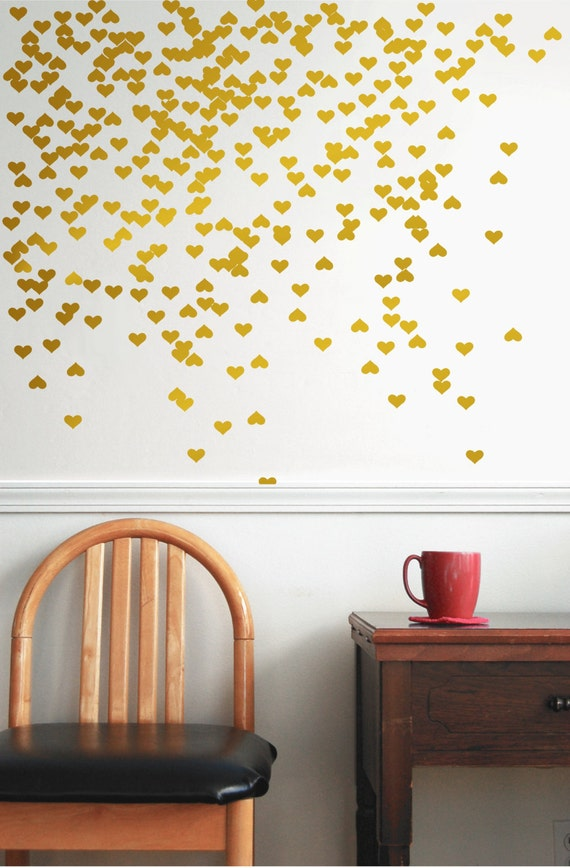 gold vinyl heart wall decal wall decal pattern gold With gold wall decals