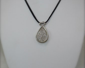 Wire Wrapped Druzy Pendant Necklace Sterling Silver Neutral