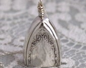 Silverware Bell Pendant - SHERATON 1910 - STERLING SILVER Chain Silverware Necklace Silverware Jewelry - Choice of Chain or No Chain