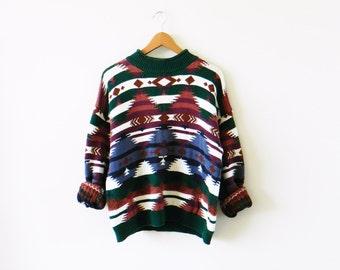 Vintage Tribal Boho Sweater / Cozy Aztec Southwestern Sweater / Boho Festival Sweater / Unisex Tribal Jumper