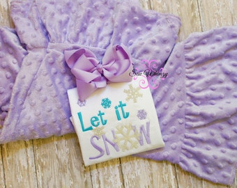 Let it Snow shirt and minky pant set- Snow outfit- Minky pants