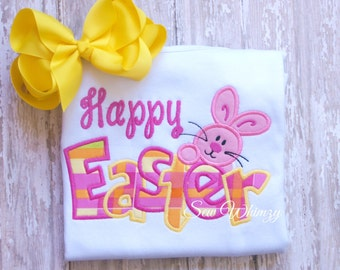 Easter shirt or bodysuit- Easter bunny shirt or bodysuit- Girl bunny shirt and bow