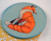 Fox Fabric Badge, Large Badge, Pin Badge, Fabric Covered Button