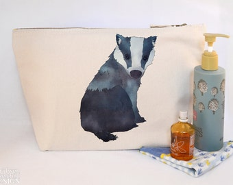 Badger Canvas Wash Bag, Large Zipper Pouch, Makeup Bag, Toiletry Bag, Accessory Bag