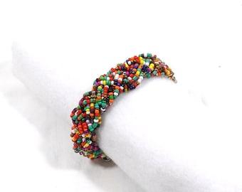 Braided Glass Seed Bead Bracelet