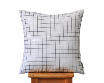 "Modern Black and White, Grid Pillow, Geometric Decorative Pillow, modern Cushion, Nursery Pillow, Kids Pillow, Throw Pillow 16"" x 16"""