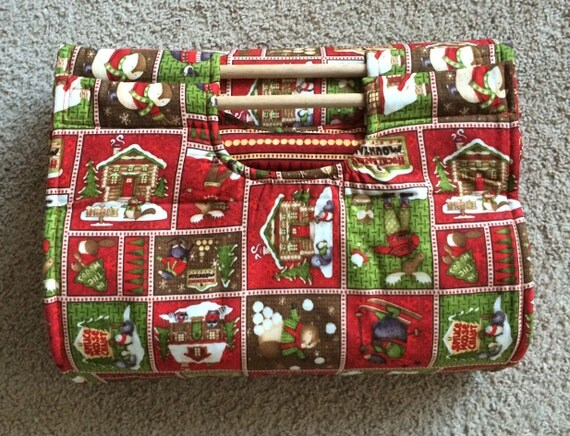 Insulated Casserole Carrier - Woodland Cabin in Winter with Striped Interior CHRISTMAS WINTER, Personalization Available