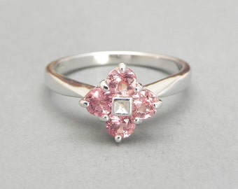 Morganite and Diamond Ring, Morganite Engagement Ring, Size 7, White Gold, Pink Peach, Promise Ring, Art Deco Style Ring