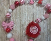 Valentine's Day Chunky Bead Necklace and Headband SET,Bow Bubblegum Necklace,Ready to Ship