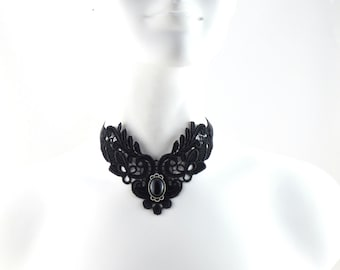 Black Lace Choker Necklace with Black Agate Stone Cabochon in Silver Setting - Victorian, Gothic Chic - Ties in the Back with Satin