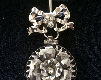 Vintage Art Nouveau Style Silver and Rhinestone Bow and Flower Pendant Brooch Necklace Vintage Jewelry Upcycled Vintage Jewelry
