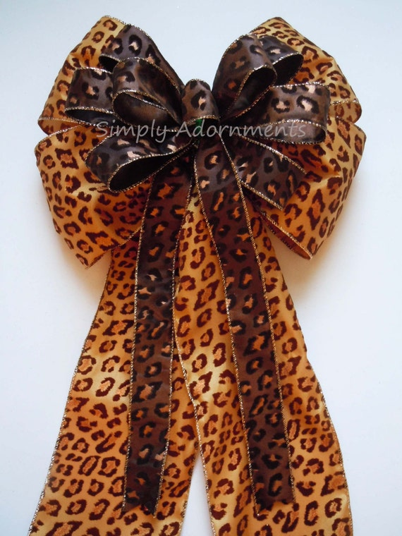 Leopard Birthday party decor Brown Leopard Christmas Tree Bow Christmas Animal Print Bow  Brown Bronze Leopard Bow Christmas Wreath Bows