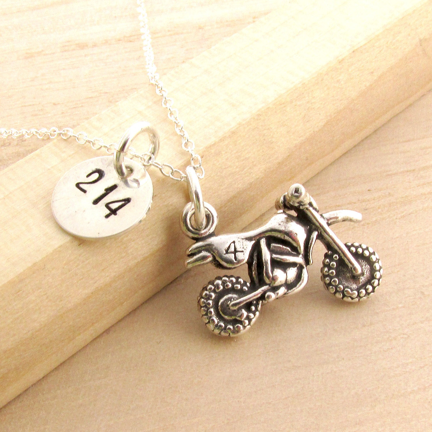 Motocross Necklace  Personalized Mx Jewelry  Sterling Silver Dirt Bike  Charm  Moto Mom Gift