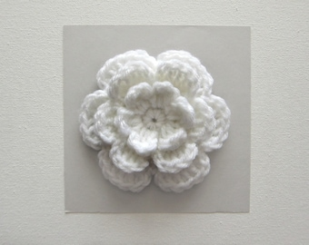 "1pc 4"" Crochet WHITE Three-Layer Flower Applique"