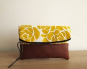 Floral Clutch purse, Fold over clutch, Yellow Flowers, Clutch bag, Foldover