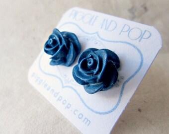 Navy Blue Rose Earrings. Polymer Clay Flower Earrings. Midnight Blue Bridesmaid Earrings. Big Stud Earrings. Dark Blue Flower Earrings.