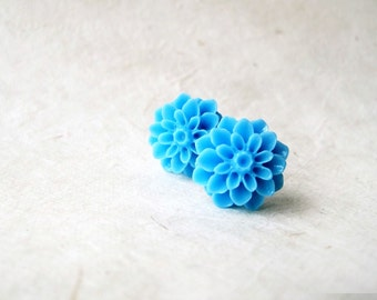 Blue Flower Earrings, Flower Stud Earring, Sky Blue Earrings, Cabochon Earrings, Handmade Resin Flower Earrings, Blue Bridesmaid Jewelry