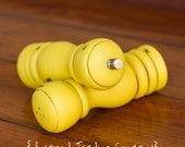 CHOOSE YOUR COLOR - Painted,Distressed, Wooden Pepper Mill and Salt Shaker - English Yellow