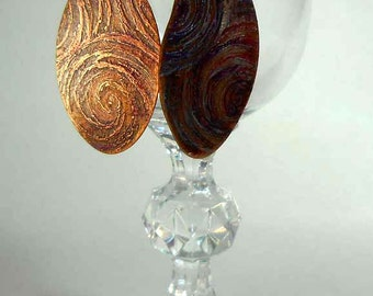 READY to SHIP Starry Spirals Hand Forged Solid Copper Dangle Earrings CPE79