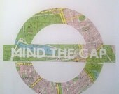 MIND THE GAP - Original Art made from a Vintage Map of London // Handmade in England