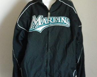 Vtg Florida Marlins MLB Baseball Nylon Jacket Black Silver Teal Nylon Winter Outerwear, Made in Korea, Majestic Brand,  Mens Sz XL