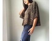 Leopard Print Boxy Blouse - repurposed vintage fabric