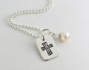 Hand Stamped Cross Necklace Inspirational Faith Jewelry - Sterling Silver Jewelry for Her