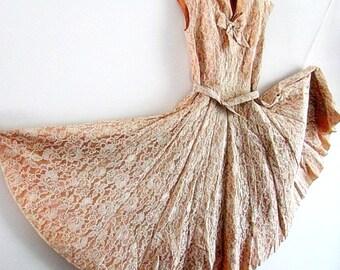 Dress Pink, Dress Lace , Dress Vintage 50s , Pale Pink Dress, Wedding Dress, Marilyn Monroe Dress size S, Vintage Wedding, Prom Dress