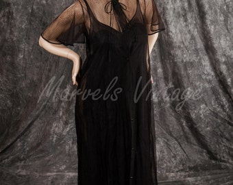Vintage Black Chiffon Nightgown & Peignoir Glamorous Lingerie Set by Sears Size 36 Medium