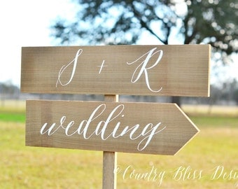 Wedding Name Sign, Wedding Sign with Names, Wedding Calligraphy Sign, Wedding Initials Sign, Directional Wedding Sign