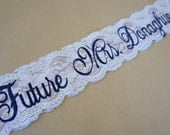 Champagne and Navy Lace Bridal Sash - Navy, White and Champagne Bachelorette Sash - Customizable Bacelorette Sash