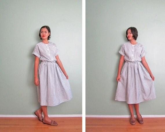 striped dress / gray grey dress / button front dress medium