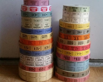 100 of Zoë's Vintage Carnival Tickets Assortment | Assorted Mixed Lot | Raffle Tickets | Admit One | Keep This Coupon | Paper Ephemera