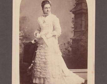 Vaughan Graduation Cabinet Card of a Young Woman in White