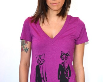 Cat T-Shirt Women's Deep V Neck Cat's in Suits