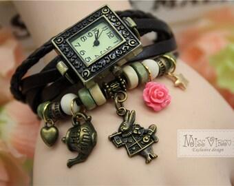 gift box: alice wonderland charm bracelet watch rabbit teapot cute fairytale rose vintage bronze clock retro jewellery accessory