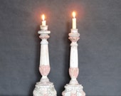 Vintage  wooden shabby chic candle holders / cottage / country chic