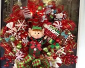 Elf in the Box light up Christmas Wreath, Christmas Wreath, Elf Wreath, wreath for Door, deco mesh wreath