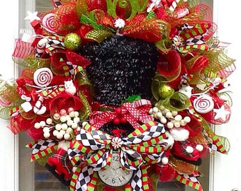 Christmas Top hat Wreath, wreath for christmas, christmas wreath holiday wreaths
