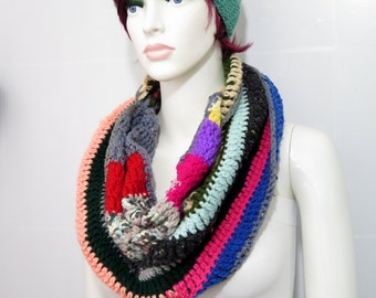 Knitted infinity Scarf, Striped Multicolored Hand knit infinity scarf Block Infinity Scarf. Loop Scarf, Circle Scarf, Wrapped Up Winter