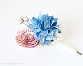 Boutonniere with Hydrangea, Rose & Brunia Berries made from Books - IN YOUR COLORS - Paper Wedding Buttonhole Flowers for Groom, Groomsmen
