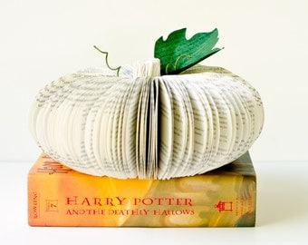 Harry Potter and the Deathly Hallows Book Pumpkin - Fall, Autumn, and Halloween Decor Upcycled from Old Books
