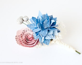 Book Boutonniere with Hydrangea, Rose & Berries made from Harry Potter, Lord of the Rings, Outlander, and Many More Options - IN YOUR COLORS