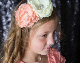 Peaches and Cream Headband - Peach Chiffon Headband - Cream Chiffon Headband - Bridesmaid Headband  - Peach and Cream Wedding