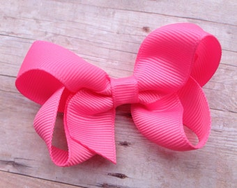Adorable pink sorbet boutique hair bow - pink boutique bow, pink bow, 3 inch bows, girls hair bows, toddler bows, baby bows, boutique bows