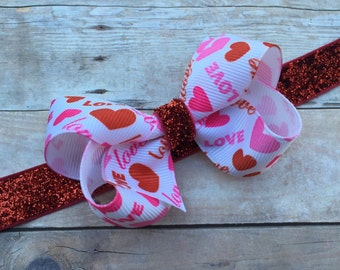 Valentines Day headband - 3 inch bow on red glitter headband, baby headband