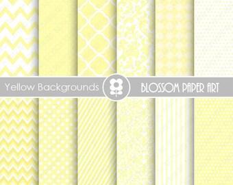 Yellow Digital Backgrounds Digital Papers, Yellow Textures Digital Paper Pack, Yellow Scrapbooking Digital Paper - 1873