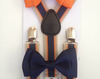 Suspender & Bowtie set Orange Striped Suspenders Baby bow tie Suspenders Navy Blue Boys Bowties Toddler Necktie Men bowtie Wedding Ring Bear